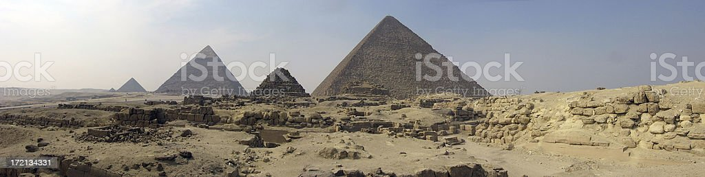 Giza pyramids panorama royalty-free stock photo
