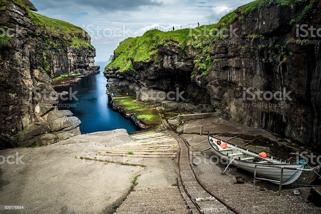 Gjógv,Faroe Islands stock photo