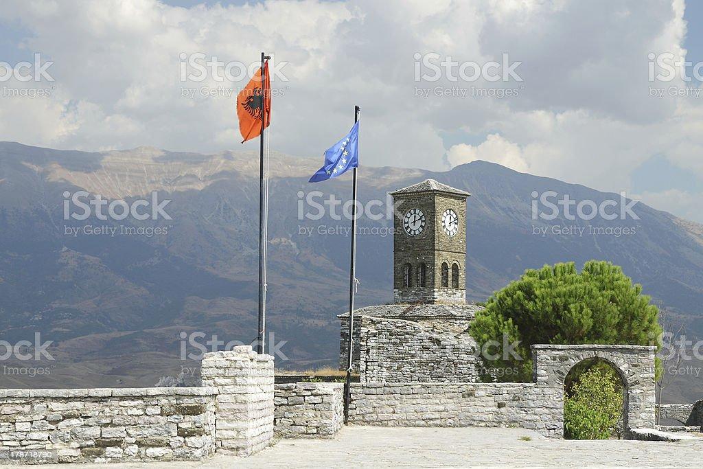 Gjirokaster, Citadel, Flags of Albania and EU Flying royalty-free stock photo