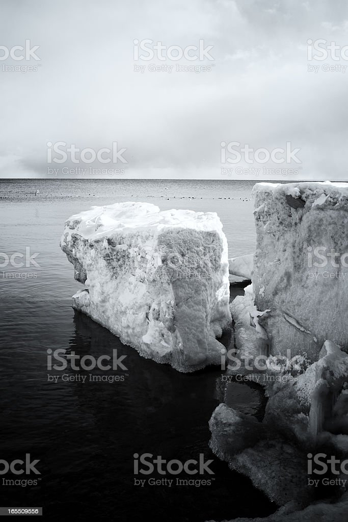 Glacial Formation on Winter Coastline stock photo