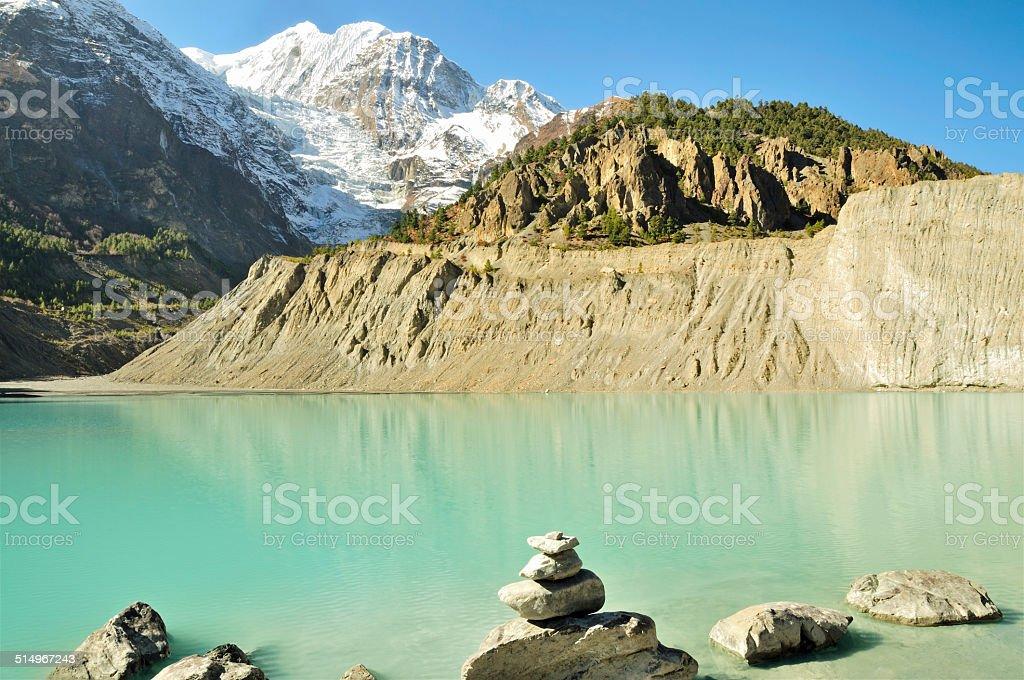 Glacial Gangapurna Tal (Lake), Manang, Nepal stock photo