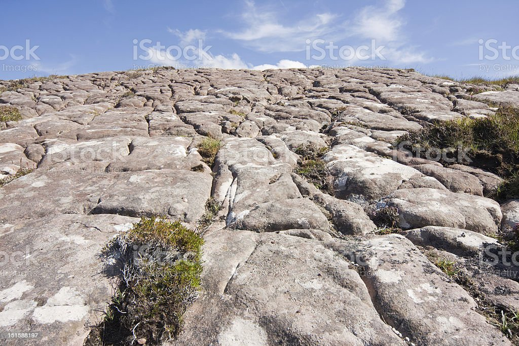 Glacial grooves in rock stock photo