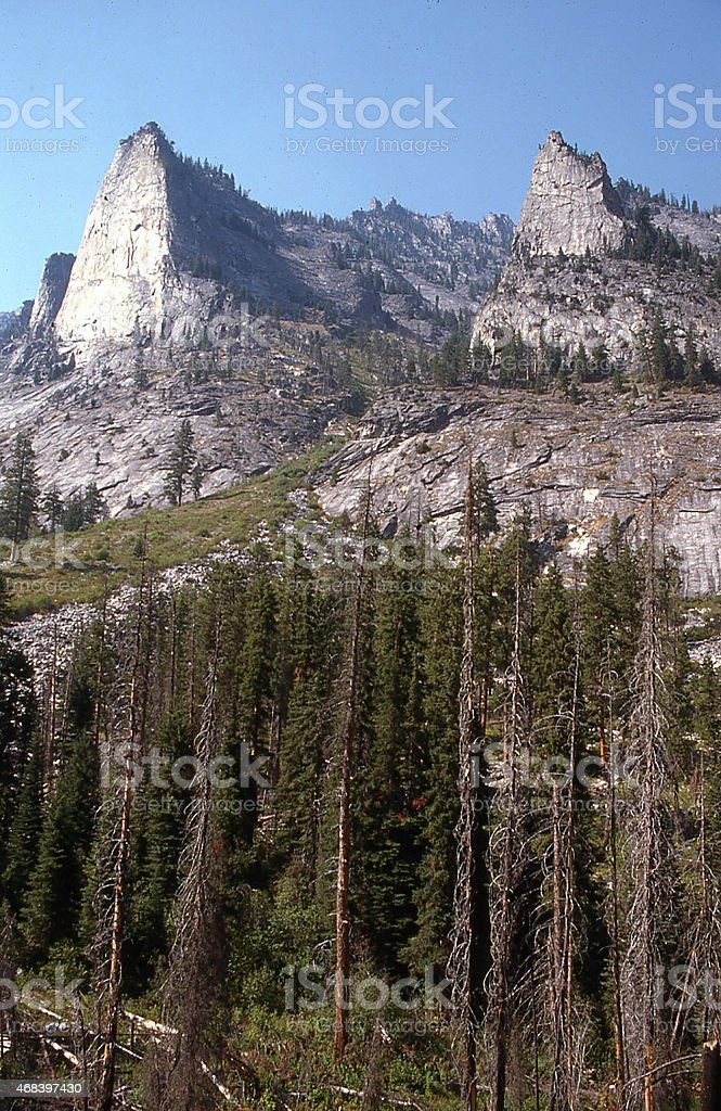 Glacial Horns in Selway-Bitterroot National Forest near Hamilton Montana stock photo