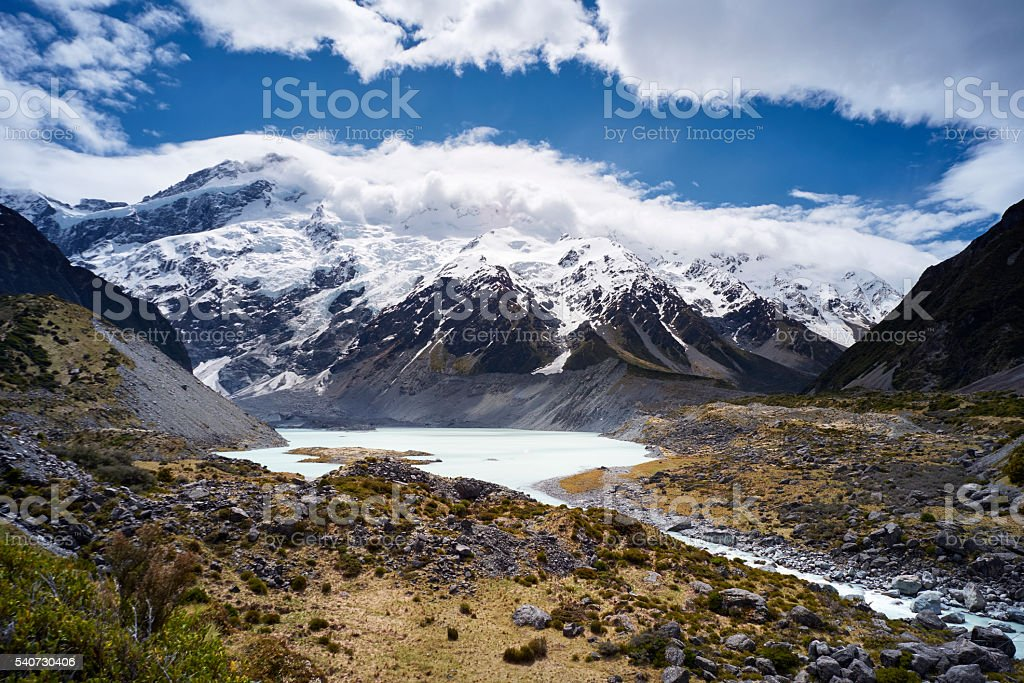 Glacial Lake In New Zealand's Mt Cook National Park stock photo