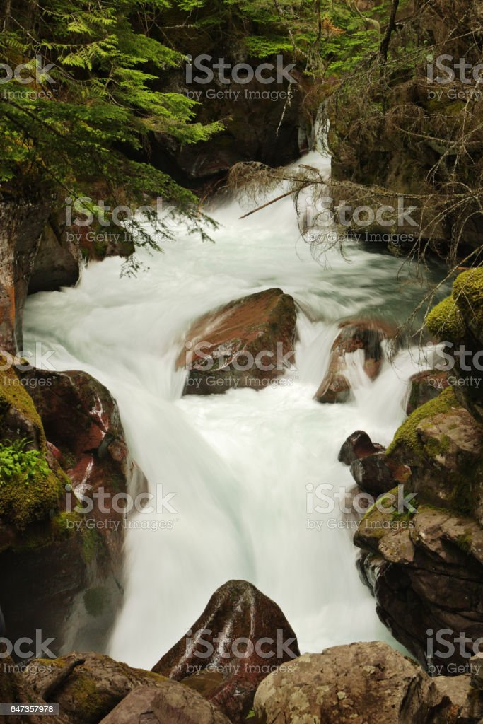 Glacial Meltwater Rapid Cascading Waterfall Avalanche Gorge stock photo