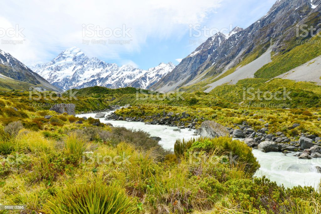 Glacial stream in Hooker Valley ,Aoraki, Mount Cook stock photo