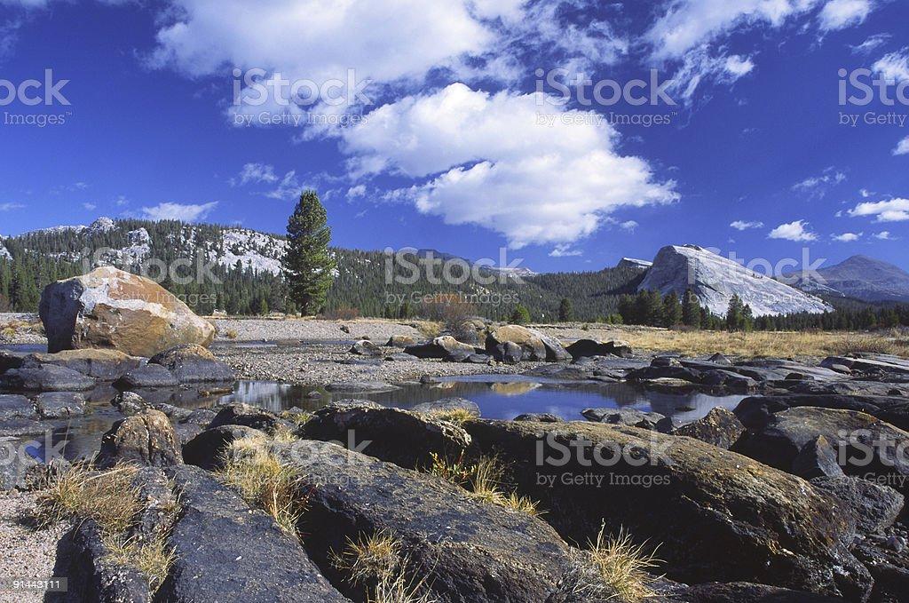 Glacially polished granite rocks in Tuolumne Meadows of Yosemite stock photo