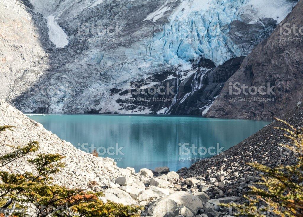 Glaciar Piedras Blancas and Corrie Lake stock photo