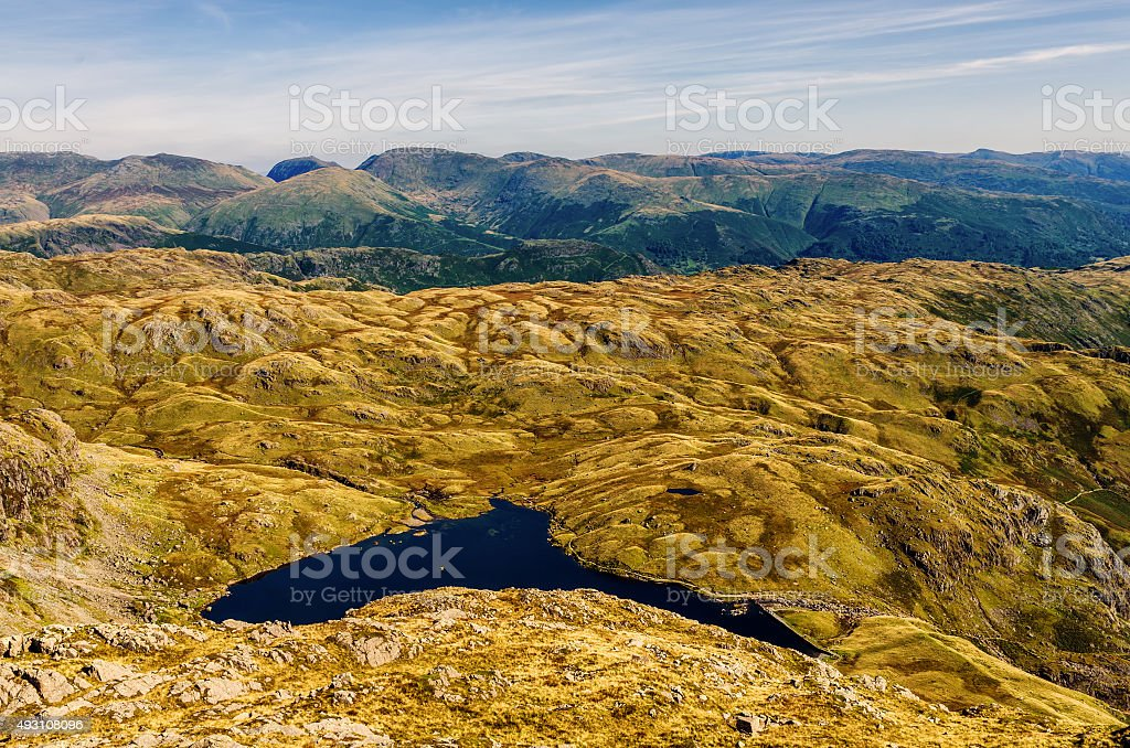 Glaciated mountain landscape in Langdale stock photo