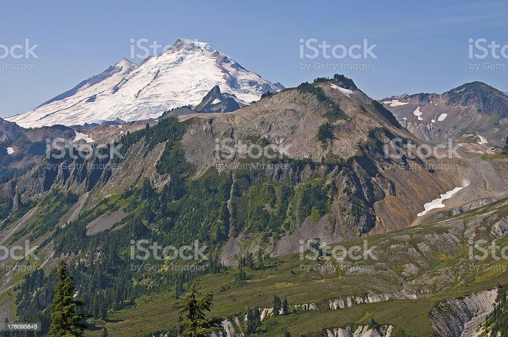 Glaciated terrain and erosion around Washington state's Mt. Baker royalty-free stock photo