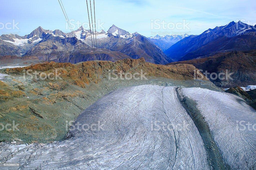 Glacier above Zermatt alpine valley swiss mountain range, Swiss Alps, Switzerland stock photo