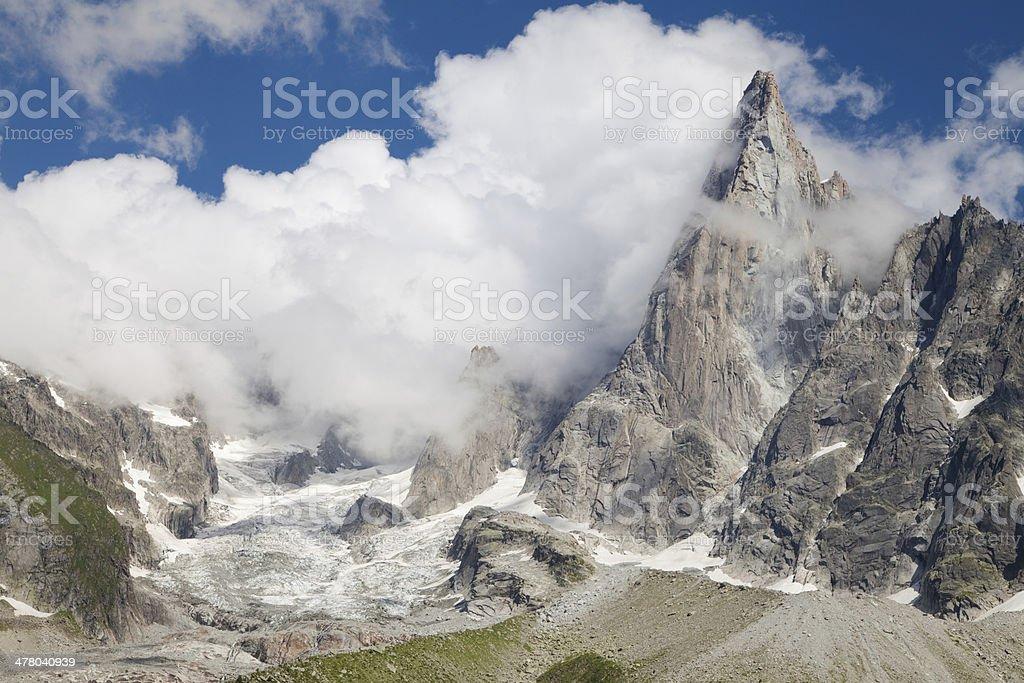 Glacier and Aiguille du Dru royalty-free stock photo
