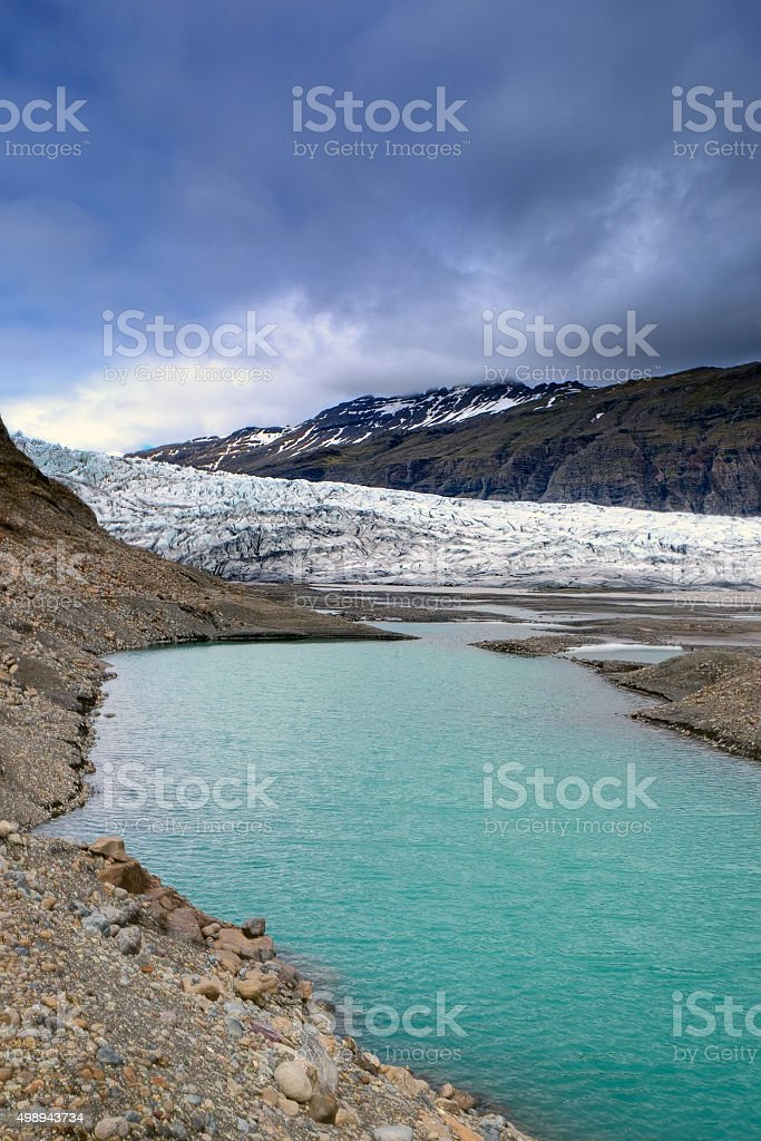 Glacier and lake in Iceland stock photo