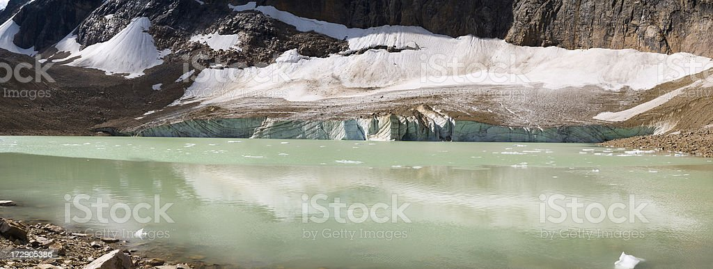 Glacier and Pond at Mount Edith Cavell royalty-free stock photo