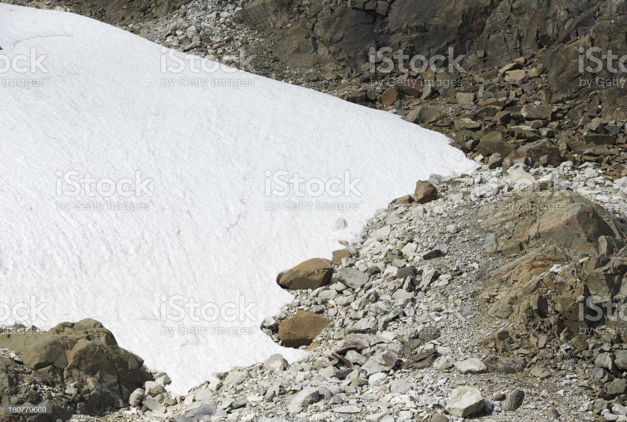 Glacier and rocks during summer in Jotunheimen National Park royalty-free stock photo