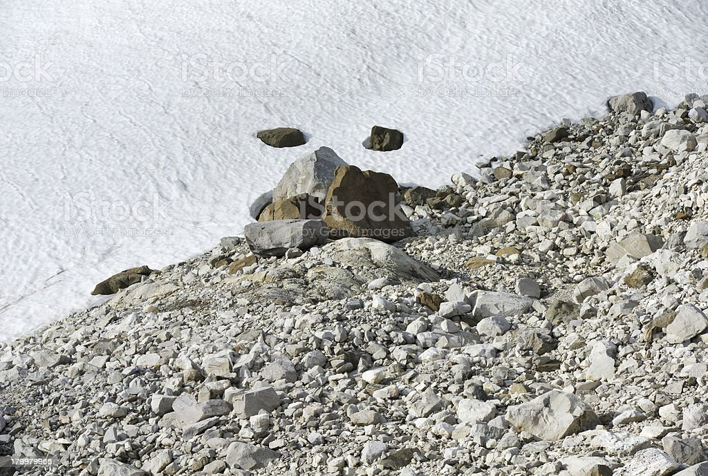 Glacier and rocks in the mountains of Jotunheimen National Park royalty-free stock photo