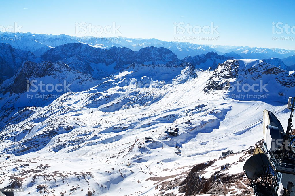 Glacier and ski pist Zugspittze stock photo