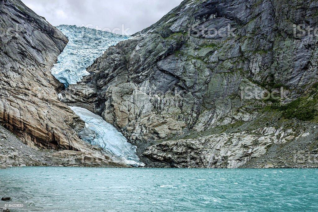 Glacier Briksdal, Norway. Natural landscape, National park Jostedalsbreen stock photo