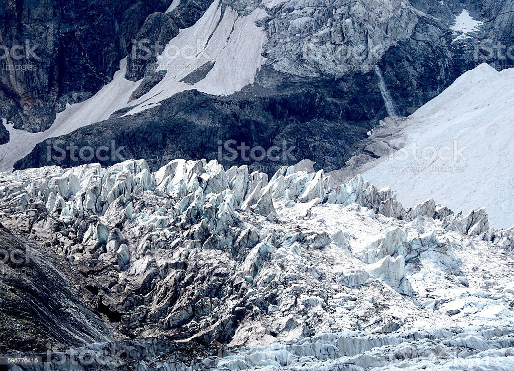 glacier cascade and Seracs in Caucasian mountains stock photo