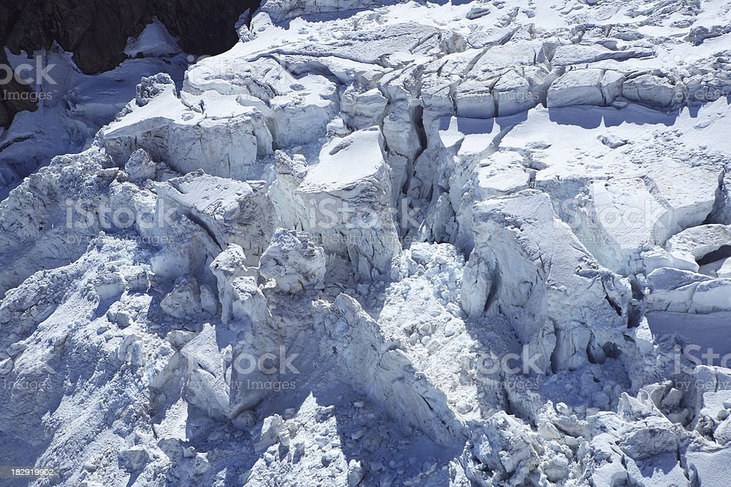 glacier crevasses from above royalty-free stock photo