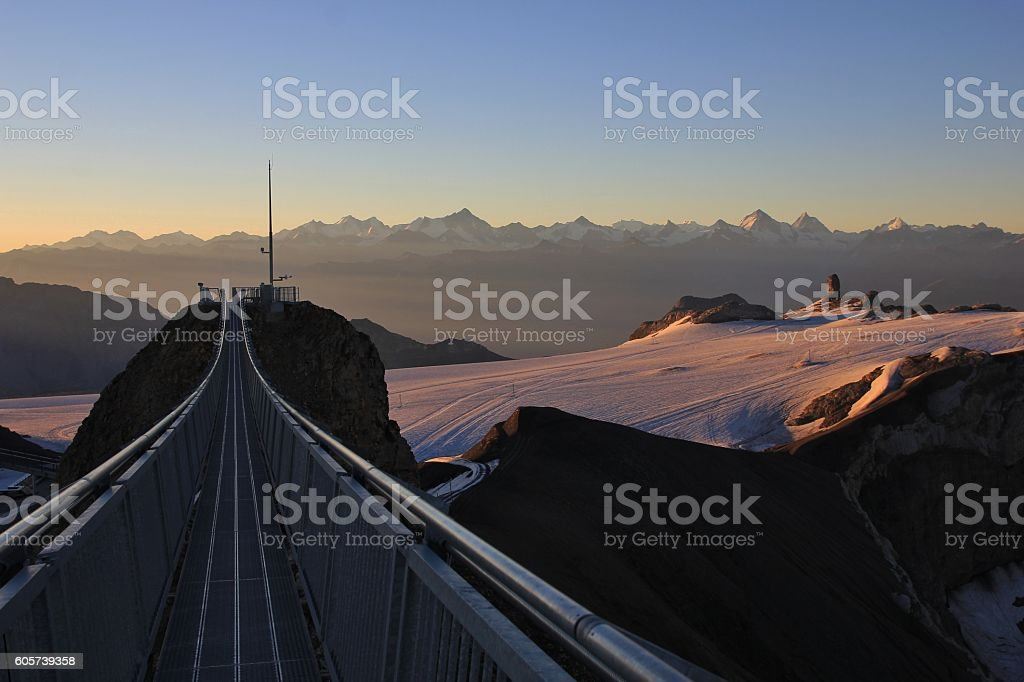 Glacier de Diablerets at sunrise stock photo