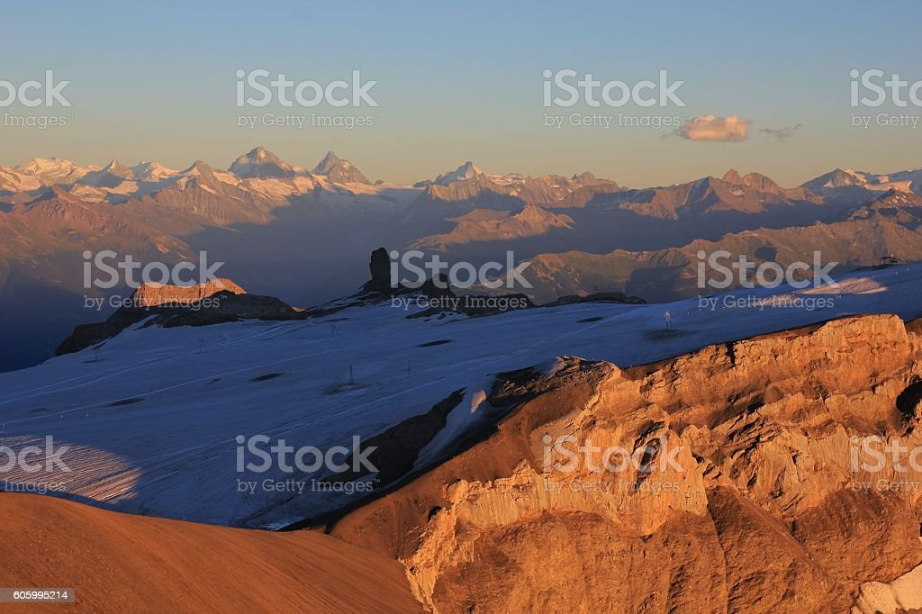 Glacier de Diablerets at sunset stock photo