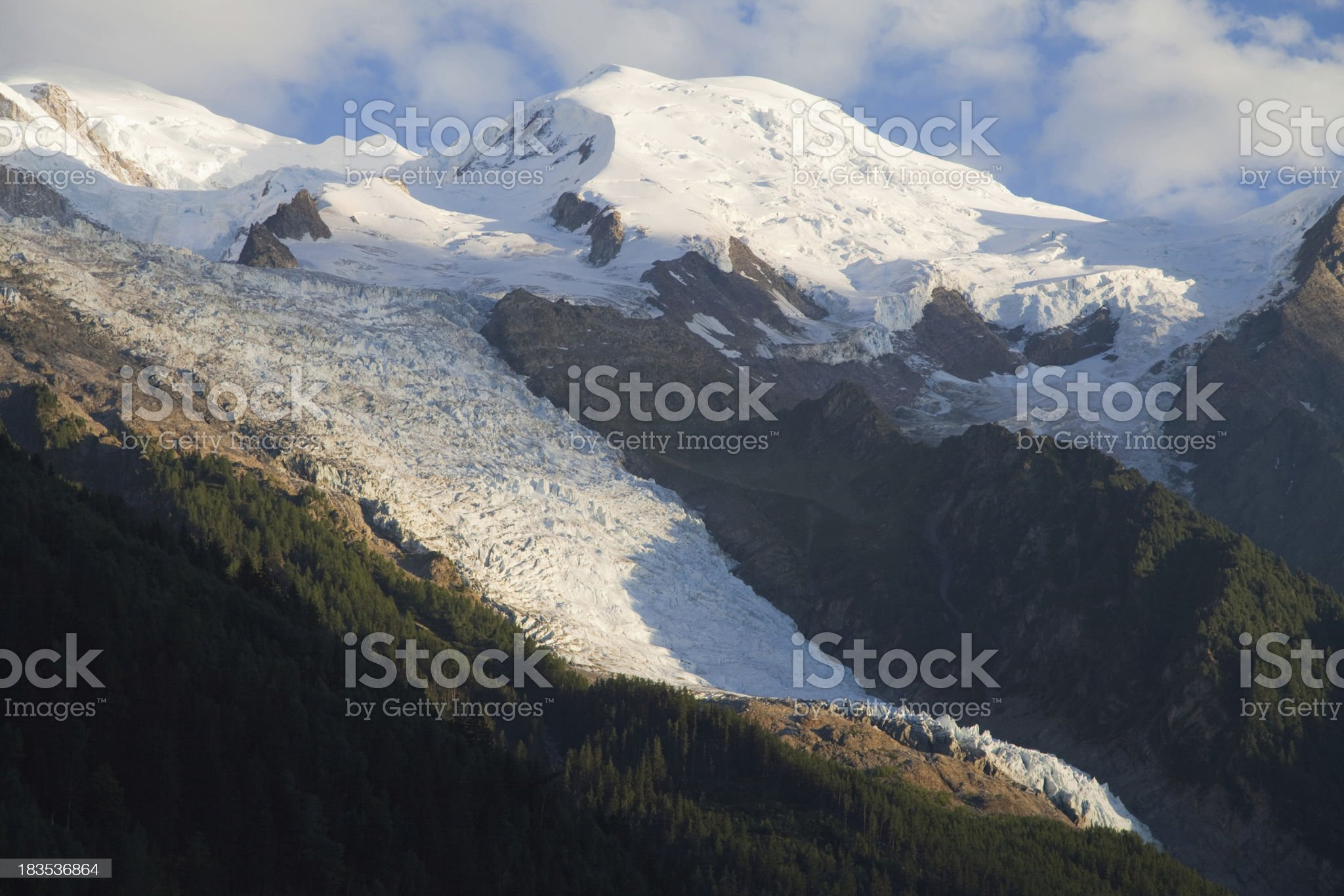 Glacier des Bossons at dusk royalty-free stock photo