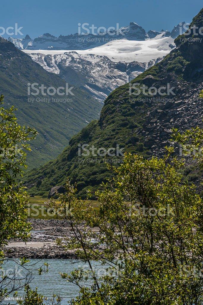 Glacier du Mulinet and Roc du Mulinet from L'Ecot stock photo