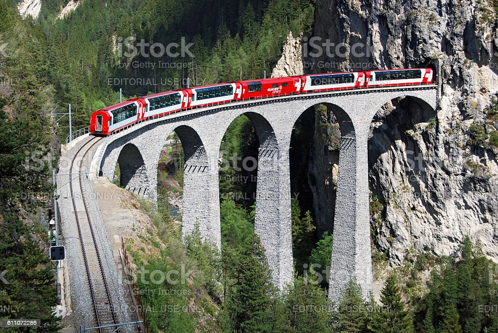 Glacier Express just before Filisur station stock photo