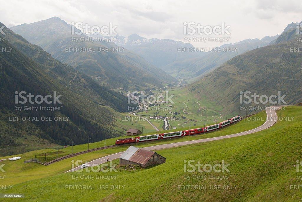 Glacier Express near Andermatt stock photo
