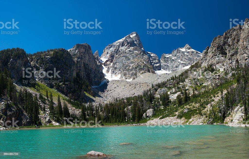Glacier fed lake in the Grand Teton National Park stock photo