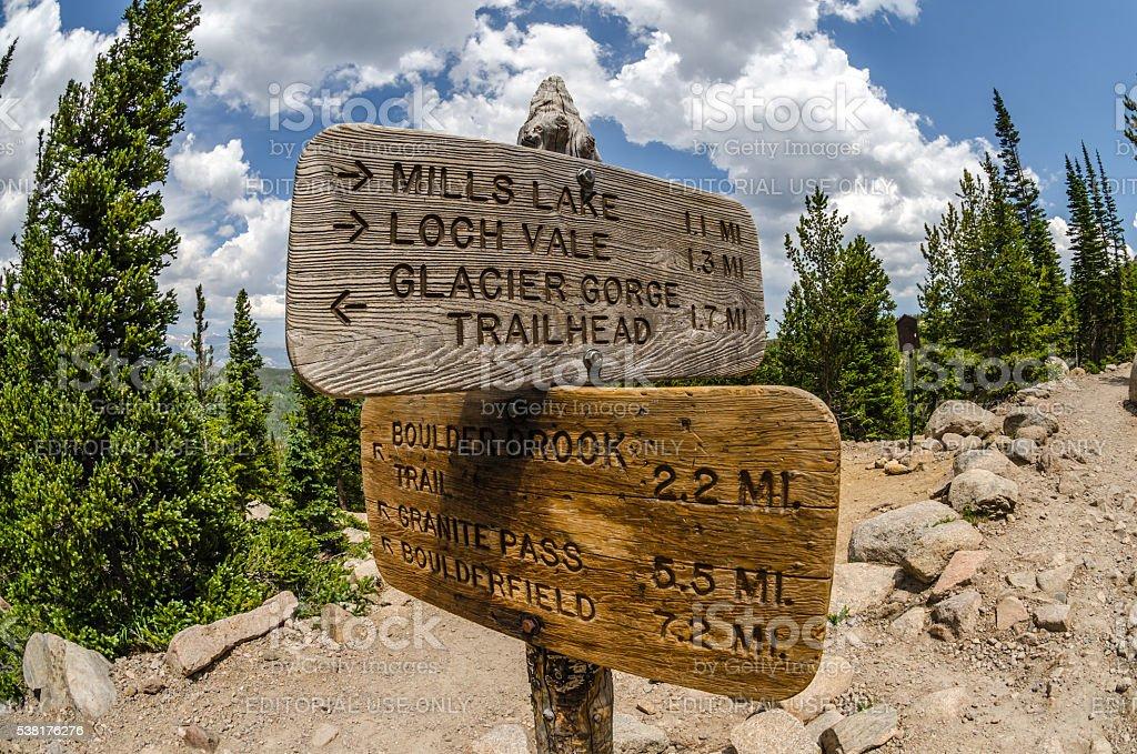 Glacier Gorge Trailhead stock photo