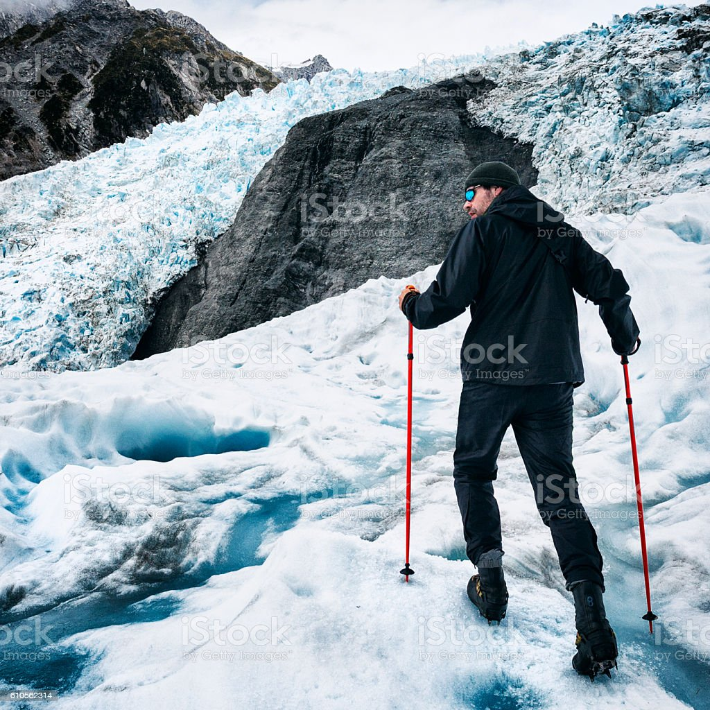 Glacier Hiking on Franz Josef Glacier in New Zealand stock photo