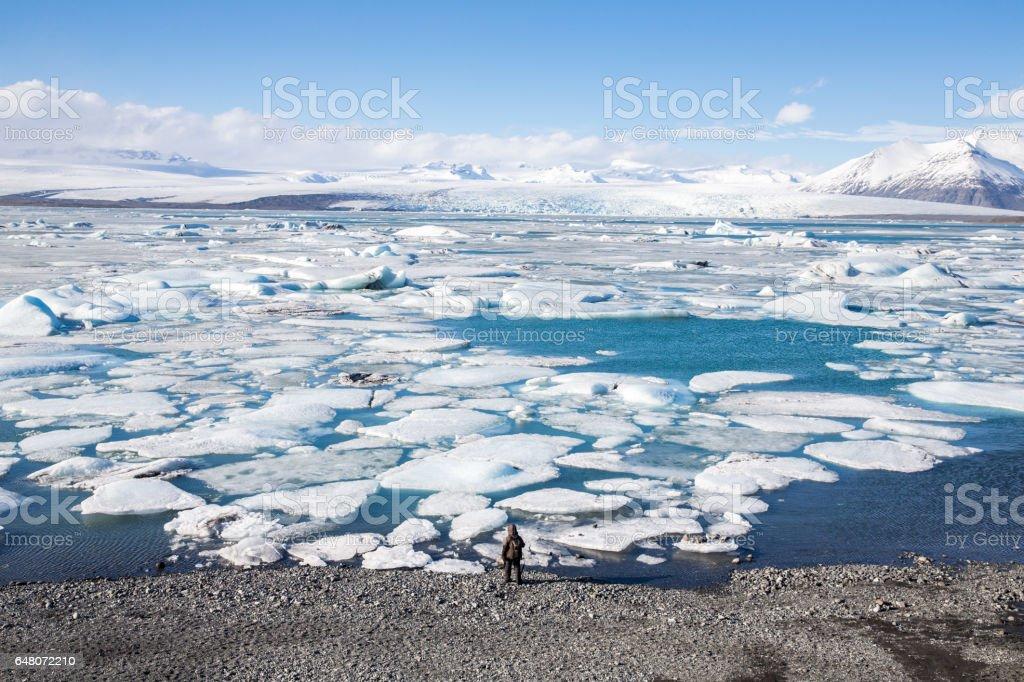 Glacier ice lagoon in Jokullsarlon stock photo