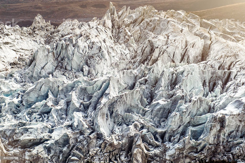 Glacier in Nepal mountains stock photo