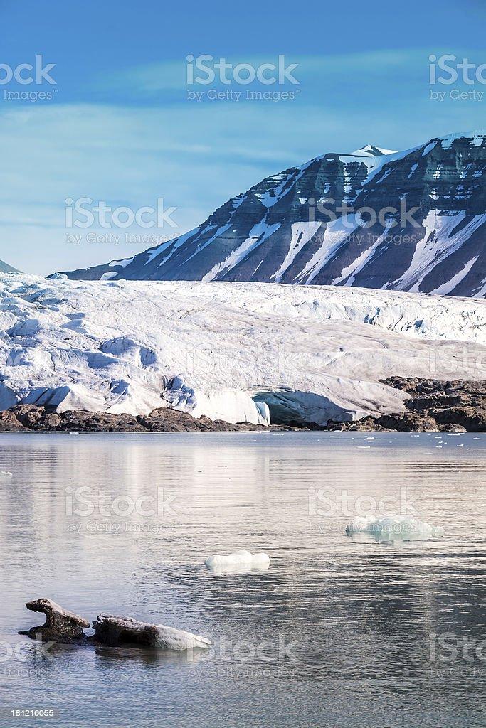 Glacier in the arctic. stock photo