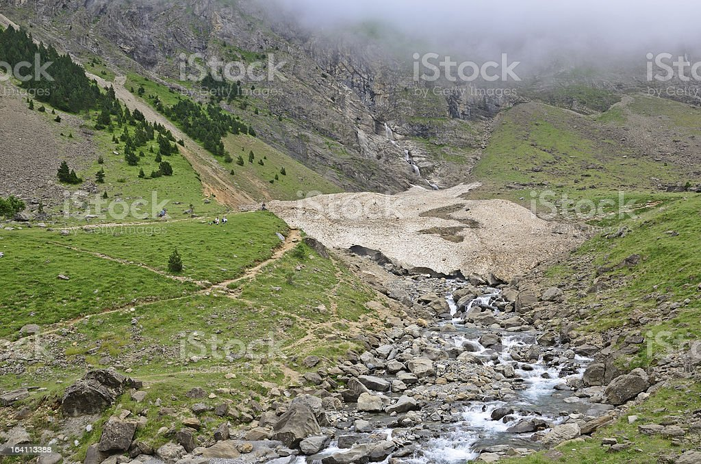 Glacier in the summer mountains stock photo