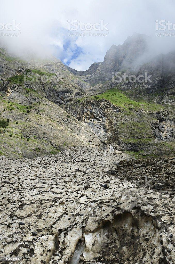 Glacier (le pont de neige) in the summer Pyrenees stock photo