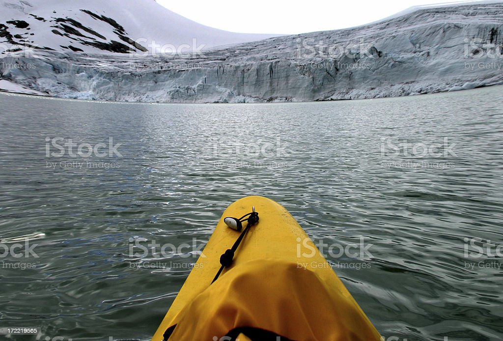 Glacier kayaking - ultra wide! royalty-free stock photo