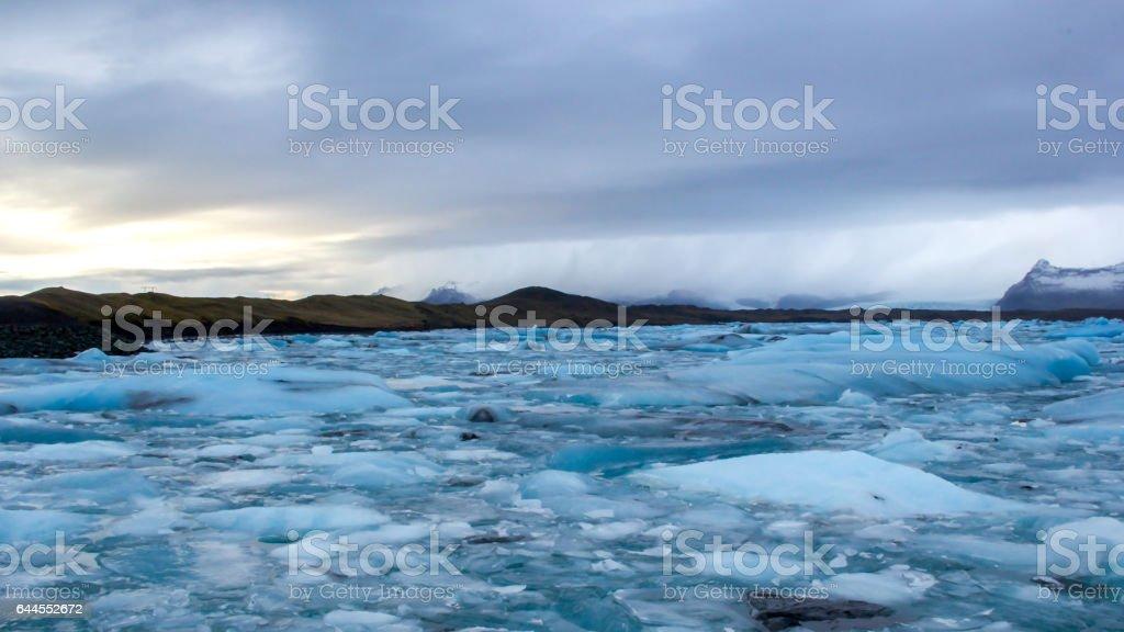 Glacier lagoon with turquoise icebergs, Iceland stock photo