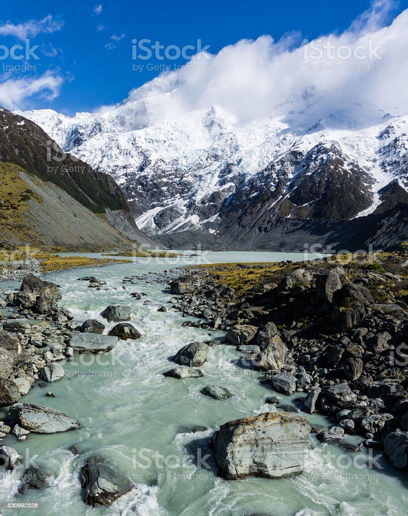 Glacier Lake and Stream stock photo