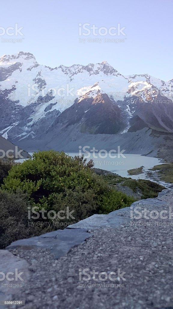 Glacier Lake at Tasman Valley stock photo