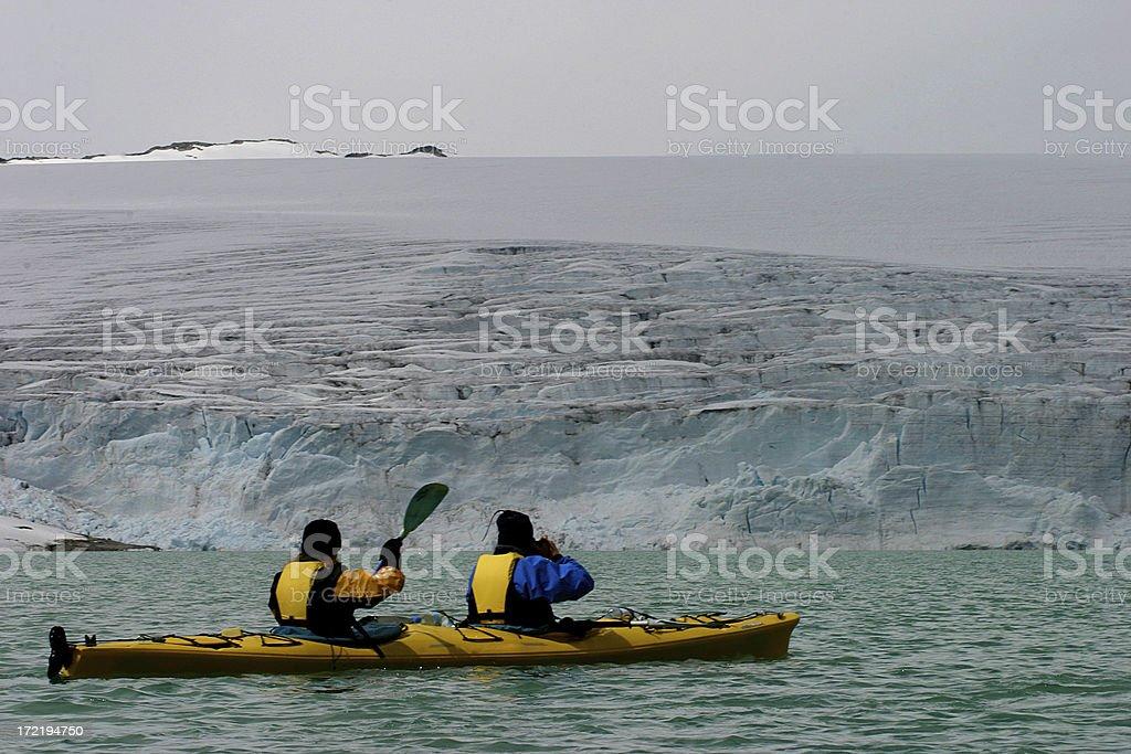 Glacier lake kayaking stock photo