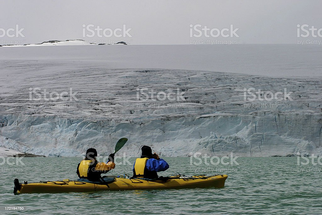 Glacier lake kayaking stock photo