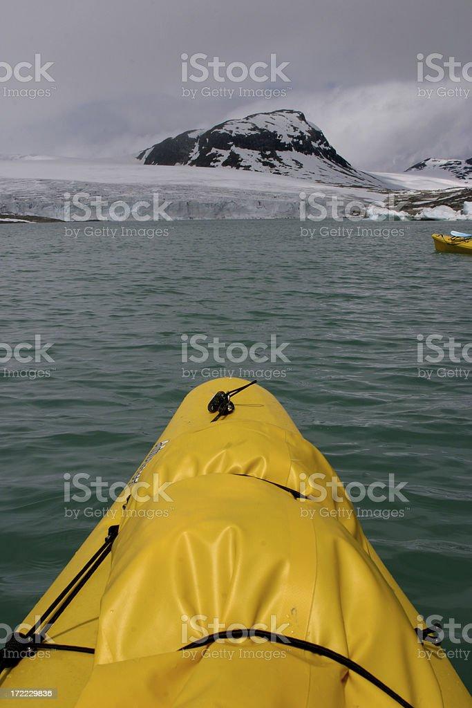 Glacier lake kayaking royalty-free stock photo