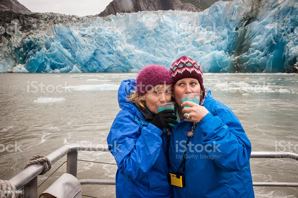 Glacier margaritas in Alaska stock photo