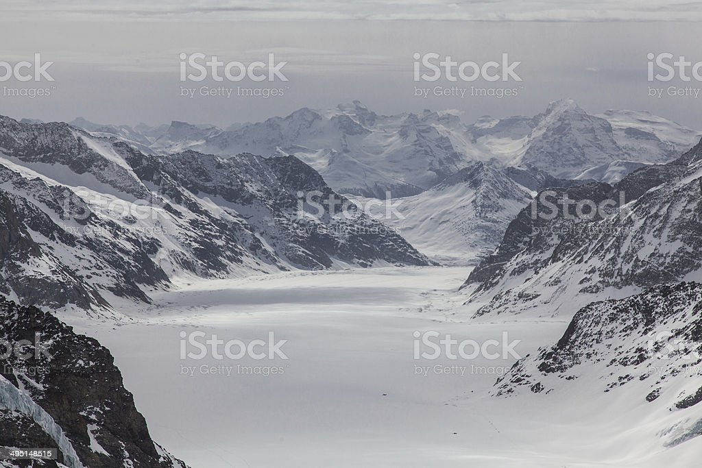 Glacier Mountain Pass viewed from the top of the mountain royalty-free stock photo