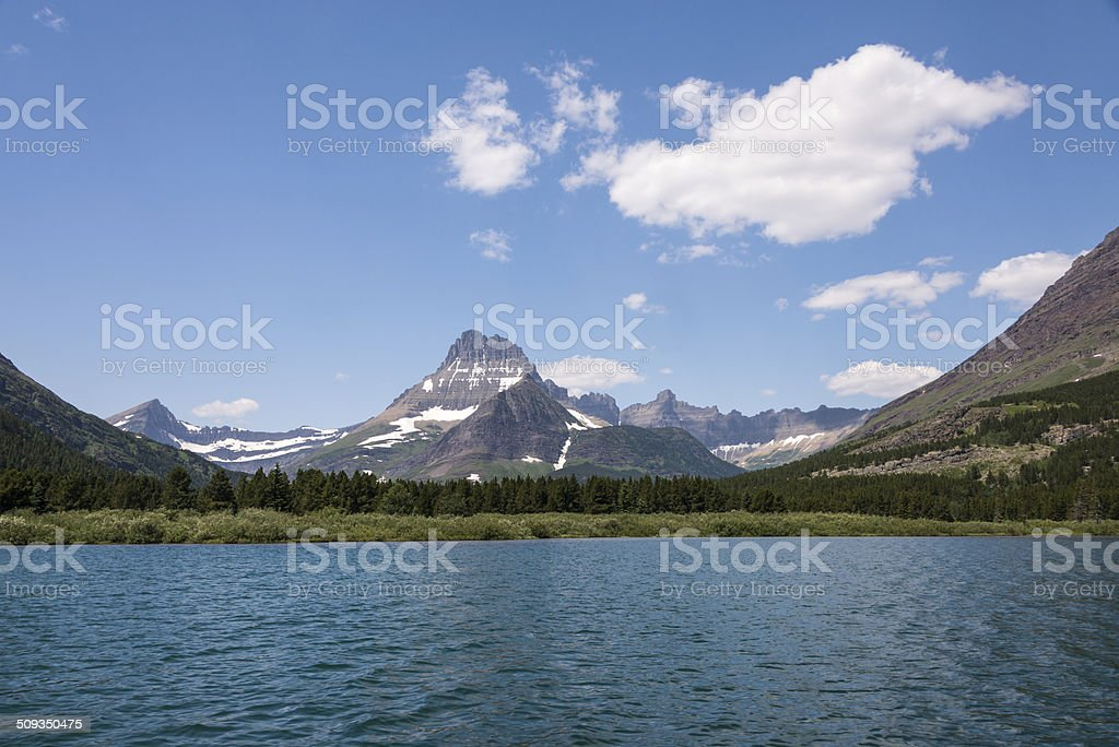 Glacier Mountains and Swiftcurrent Lake stock photo