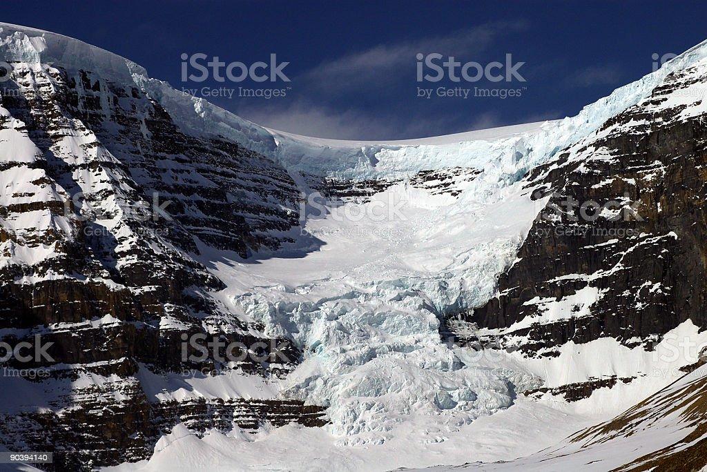 Glacier Moving Down Mountain stock photo