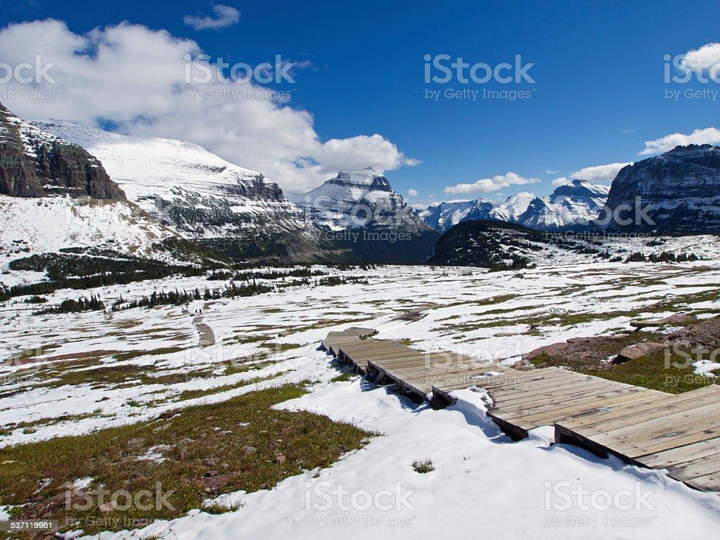 Glacier National Park Boardwalk Logan Pass Hidden Lake Trail Mountain stock photo
